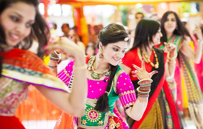 Enacted by friends and relatives narrating how bride and groom met