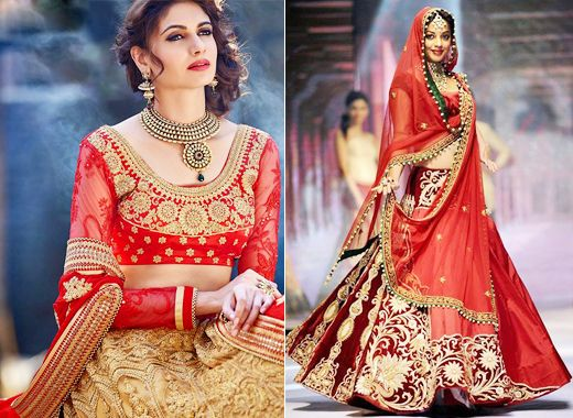 Golden Red Lehenga.weddingplz
